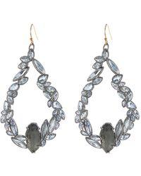 Alexis Bittar Two-tone Mult-cut Crystal & Stone Teardrop Earrings In Gunmetal/indigo Ice At Nordstrom Rack - Metallic