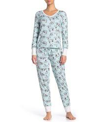 Jane And Bleecker Printed Shirt & Pants 2-piece Pajama Set - Blue
