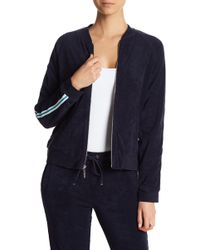 Marc New York - Terry Cloth Striped Sleeve Bomber Jacket - Lyst