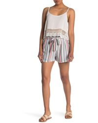 Angie Stripe Print Woven Shorts - Multicolor