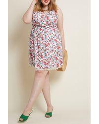 ModCloth Ditsy Print Lace Trim Dress - White