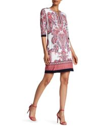 Sandra Darren - 3/4 Sleeve Print Dress - Lyst