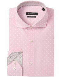 Bugatchi Flower Print Shaped Fit Dress Shirt - Pink