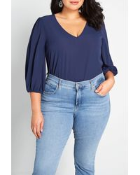 ModCloth - Certainly Essential V-neck Blouse - Lyst