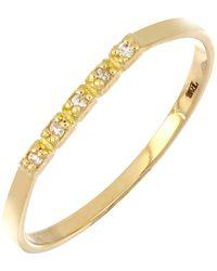 Bony Levy 18k Yellow Gold Diamond Petite Bar Band Ring - Metallic