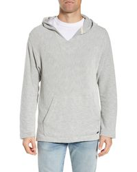 Faherty Brand Textured V-neck Pullover Hoodie - Grey