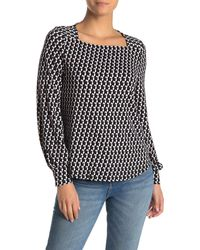 Adrianna Papell Square Neck Knit Top - Black