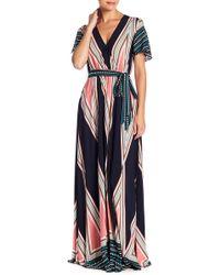 AAKAA Wrap Style Printed Maxi Dress - Blue