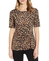Chaus Short Sleeve Side Knot Animal Top - Black