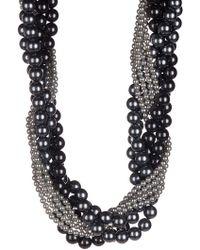 Splendid - 4-11mm Gray & Black Shell & Ocean Pearl Torsade Necklace - Lyst