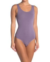 Yummie By Heather Thomson Ruby Scoop Neck Shaping Thong Bodysuit - Purple