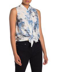 Fifteen Twenty Tie Dye Tie Front Shirt - Blue