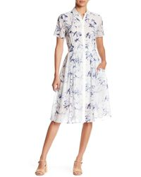 Philosophy Apparel - Short Sleeve Button Down Printed Dress - Lyst
