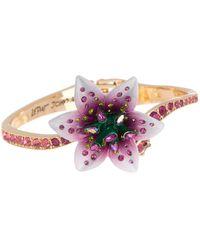 Betsey Johnson Lily Flower Hinged Bangle Bracelet - Pink