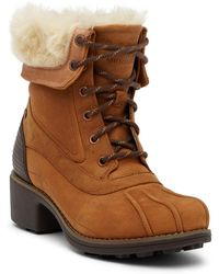 Merrell - Chateau Mid Lace Faux Fur Trimmed Waterproof Boot - Lyst