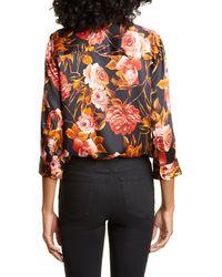 L'Agence Dani Silk Floral Shirt - Multicolor