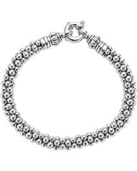Lagos Sterling Silver Caviar Beaded Rope Bracelet - Metallic