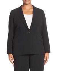 Louben Peak Lapel Suit Jacket (plus Size) - Black