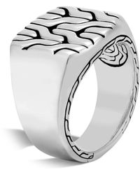 John Hardy Men's Sterling Silver Classic Chain Signet Ring - Size 10 - Grey