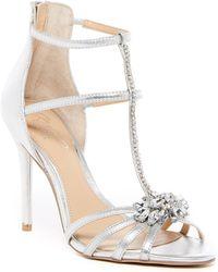 Badgley Mischka - Hazel Embellished T-strap Sandal - Lyst