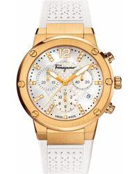 Ferragamo | F80 Chronograph Rubber Strap Watch | Lyst
