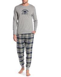 Lucky Brand Printed Shirt & Sweatpants 2-piece Pajama Set - Gray