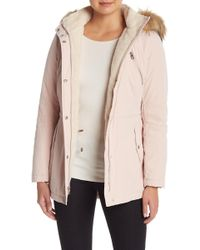 Nautica - Faux Fur Trimmed Hooded Jacket - Lyst