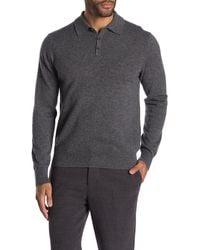 Quinn Long Sleeve Cashmere Polo - Gray