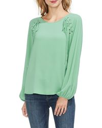 Vince Camuto Lace-up Long Sleeve Blouse - Green