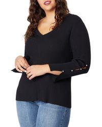REBEL WILSON X ANGELS Beaded Sleeve Sweater (plus Size) - Black