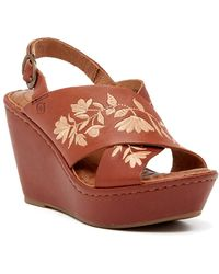 Born - Emmy Embroidered Leather Wedge Sandal - Lyst