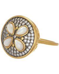 Freida Rothman - 14k Gold & Rhodium Plated Sterling Silver Cz Fleur Bloom Petite Petal Ring - Size 6 - Lyst