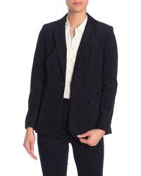 FRAME Velvet Textured Stripe Blazer - Blue