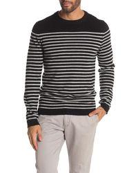 Quinn Pencil Stripe Crew Neck Sweater - Black