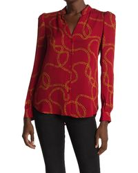 L'Agence Florent Long Sleeve Chain Print Silk Blouse - Red