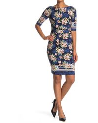 Vince Camuto Printed Elbow Sleeve Dress - Blue