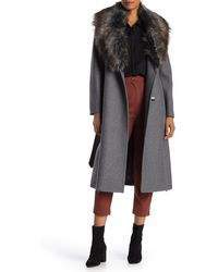 BCBGMAXAZRIA Faux Fur Collar Wool Blend Coat - Gray