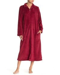 Carole Hochman Spread Collar Zip Front Robe - Red