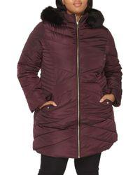 Dorothy Perkins - Faux Fur Trim Hooded Puffer Coat - Lyst