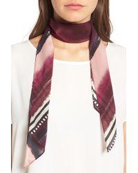 Halogen - Stripe Silk Skinny Scarf - Lyst
