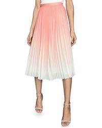 Reiss Mila Ombre Pleated Midi Skirt - Pink