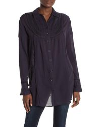 Urban Outfitters Contrast Seam Bib Shirt - Blue