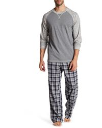 Majestic Filatures Raglan Shirt & Plaid Pant Pj Set - Gray