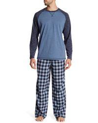 Majestic Filatures Raglan Shirt & Plaid Pant Pj Set - Blue