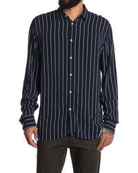 Zanerobe Pinstripe Print Boxy Fit Shirt - Blue