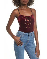 Lush - Lace Up Velvet Bodysuit - Lyst