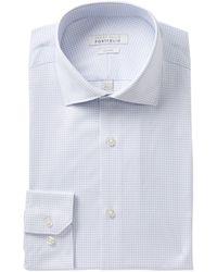 Perry Ellis Check Print Tech Slim Fit Shirt - Blue