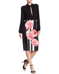 Eci - Floral Stripe Midi Skirt - Lyst