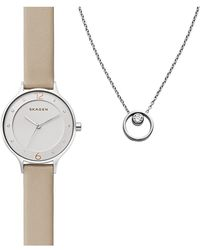 Skagen - Women's Anita Watch & Elin Cz Pendant Necklace Set - Lyst