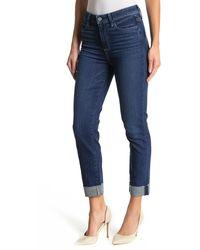 PAIGE Hoxton High Waist Raw Cuffed Crop Slim Jeans - Blue